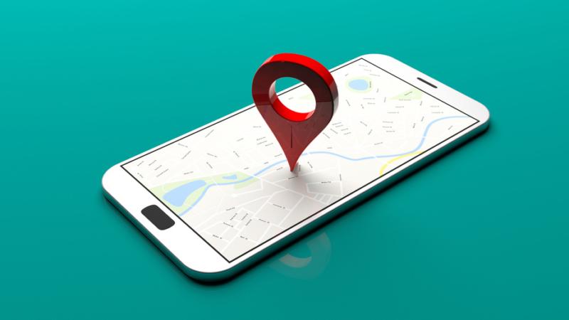 Smartphone mit Map und Pin